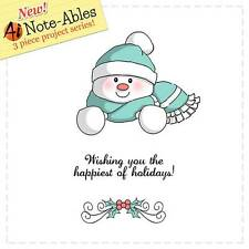 New  ART IMPRESSIONS RUBBER STAMP Set NOTE-ABLES SNOWMAN FREE USA SHIP cling