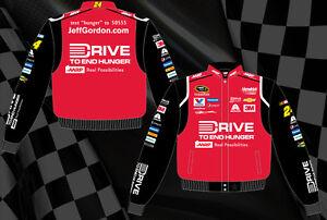 Men's Nascar Jacket Jeff Gordon Drive To End Hunger Red Black Twill BLOWOUT