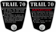 CT70 KO CT-70H  69,70,71 frame decals, graphics, frame warning