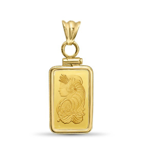 5 Gram Pamp Suisse .999 Lady Fortuna Bar Pendant Screw Top Encased in 14k Gold