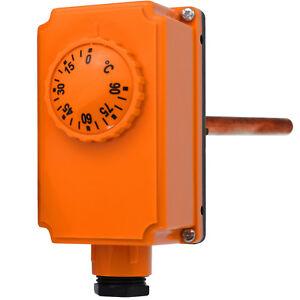 """Tauchthermostat für Kessel Pumpensteuerung 230V 0-90 °C Temperaturregler 1/2"""""""