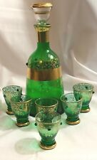 Vintage Czech Green and Gold Glass Beaded Liqour Decanter and 6 Cordials