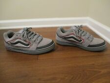 Rare Lightly Used Worn Size 13 Vans Newburg Skateboard Shoes Gray Red Silver