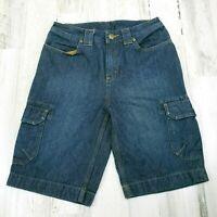 Womens Size 4 Duluth Trading Hiking Cargo Blue Jean Denim Bermuda Shorts