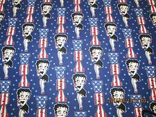 BETTY BOOP USA  BLUE   BACKGROUND 100% COTTON 1 YARD PIECE VERY CUTE !!!!!
