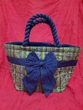 Thailand Naraya Unused Ladies Blue & Green Stripes Bow Ribbon Lunch Bag (G027)