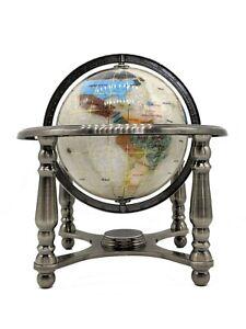 "10"" Tall Pearl Swirl Ocean Gemstone World map snow Globe with 4 Leg Silver Stand"