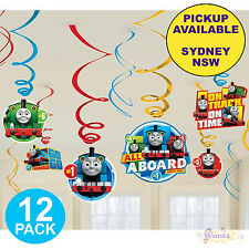 THOMAS THE TANK ENGINE PARTY SUPPLIES 12PK HANGING FOIL SWIRL DECORATIONS
