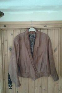 Ladies Tan Leather Jacket Size XL