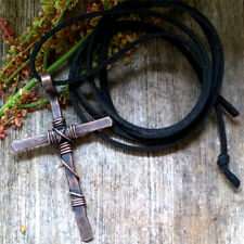 Handcrafted in USA - Antique Copper Cross Necklace 100% Cruelty Free Vegan Cord