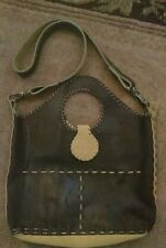 Authentic Doris Herrera Suede & Leather Purse Deep Brown and Yellow Lg
