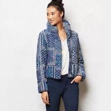 ANTHROPOLOGIE PILCRO Womens Jacket XS Blue Corduroy-Print Cotton Puffer Coat