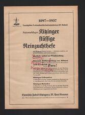 KITZINGEN, Werbung 1938, Paul Arauner Chemische Fabrik flüssige Reinzuchthefe
