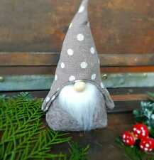 Taupe white polka dot Nordic Scandinavian tomte/nisse/Christmas gnome ornament