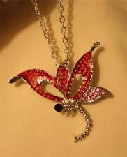 Dainty Open Hot Pink Red Enamel Rhinestone Dragonfly Silvertone Pendant Necklace