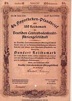 uralte Aktie Deutsche Centralbodenkredit-Aktiengesellschaft/Berlin/1940/100 Reic