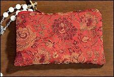 Red Rose Brocade Rosary Case NEW SKU MC942