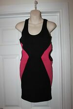 Ladies Striking Black & Pink Wiggle Dress Size M Influence Paty Frock