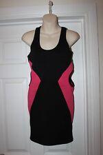 Ladies Striking Black & Pink Wiggle Dress Size M Influence Paty Frock