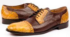 Mens Brown Honey Genuine Lizard Crocodile Exotic Dress Shoes Size 10.5