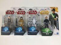Lot of 4 - Star Wars - Force Link Luke Skywalker, Rey Jedi, Rose, Stormtrooper