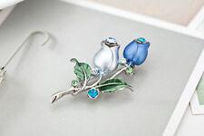 Platinum Plated Fashion Flower Design Brooch Pin Made With Swarovski Crystals