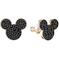 ZARD Black Crystal Disney Mickey Mouse Stud Earrings in Rose Gold-Plated Metal