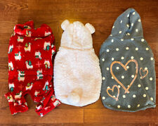 Lot of 3 Dog Sweaters Size Medium Large Top Paw Hoodie Christmas