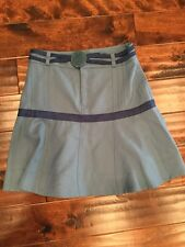 Marc Jacobs Light Blue A-Line Skirt With An Owl Belt, Size 6, NWT! $279