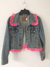 Woman's Vintage  Levi Jean Jacket , Custom With Pink Velvet Trim And Rhinestones
