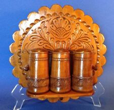 Carved Bavarian Style Wooden Wall Plaque With Shelf And 3 Wooden Shakers
