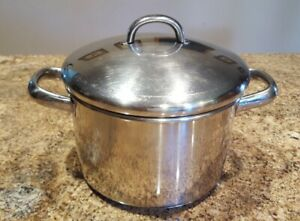 Vintage Farberware 3 QT Stockpot 18/10 Stainless Steel/Double Handle w/Lid T0097