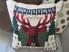 """NWT Lodge Christmas Holiday Plaid Reindeer Advent Pillow, 20"""" x 20"""", Appliqued"""