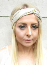 Champagne Gold Twist Turban Headband Boho Festival Knot Headpiece Hair Band 1551