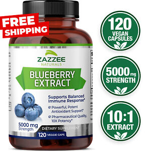 Blueberry Extract Whole Fruit 5000 mg Strength 10:1 Extract 120 Count Vegan