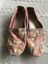 Toms Women's Sz 7.5 Brown Multi Color Polka Dot Flats Shoes