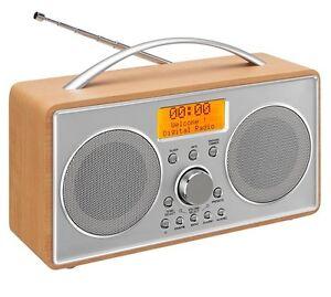 L55DAB15 PORTABLE DAB DAB+ FM RADIO LCD DISPLAY WOOD SILVER MAINS OR BATTERY