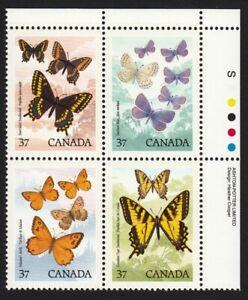 BUTTERFLIES = Canada 1988 #1213a MNH Se-Tenant UR Block of 4