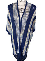 Chicos Womans Open Front Shawl Knit Cardigan Sweater Size S/M  Short Sleeve Blue