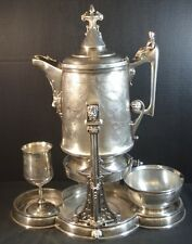 Antique American 19th Century Silver Plate  Tilter Pitcher Set