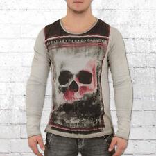 Trueprodigy Longsleeve Männer Langarm T-Shirt Large Skull grau Herren Tshirt