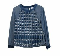 Conditions Apply Anthropologie Womens Denim Square Patch Sheer Top Blue Small