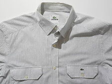 Lacoste Button-Front Shirt Casual White Black Tattersall Plaid 38 Small Slim Fit