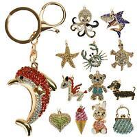 Crystal Diamante Animal Charm Keyring Key Chain Handbag Pendant Xmas Gift