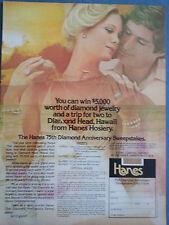 1975 Hanes Hosiery Diamond Anniversary Sweepstake Blonde Woman Jewelry Hawaii Ad