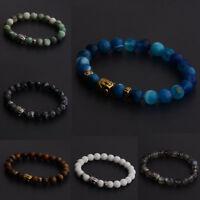 Natural Stone Buddha Head Beaded Energy Yoga Reiki Men Women Bracelets Jewelry