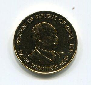 Terrific Gold Plated Kenya Daniel Arap Moi 1980 10 Cents Coin