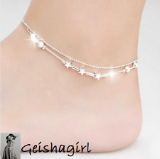Bead 3 Star Elegant Sexy 925 Silver Anklet Foot Chain Ankle Bracelet UK Seller