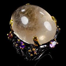 Fine Art Natural Rutilated Quartz 925 Sterling Silver Ring Size 8/R102727