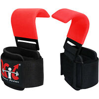 2Fit Weight Lifting Hooks Training Gym Gripper Straps Wrist Support Gloves RED